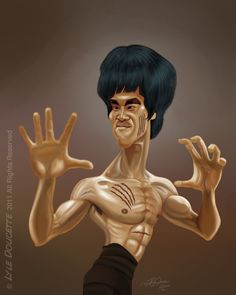 Bruce Lee [by LyleDoucette] Cartoon Faces, Funny Faces, Cartoon Art, Cartoon Characters, Caricature Artist, Caricature Drawing, Funny Caricatures, Celebrity Caricatures, Black Art Pictures