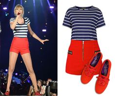TAYLOR SWIFT: Grab a striped tee and some red shorts and kicks to channel this superstar at Halloween. Then, turn around and wear it to hang out with friends, or mix and match the pieces with the rest of your wardrobe. Taylor Swift Outfits, Taylor Swift Kostüm, Taylor Swift Party, Taylor Swift Concert, Taylor Swift Pictures, Taylor Swift Halloween Costume, 2017 Halloween Costumes, Halloween Fashion, Halloween Kostüm