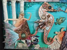 With a series of three 12 x 12 framed collage pieces, I've depicted the remnants of the fabled city of Atlantis, lying at the bottom o. Toy Theatre, Crafts With Pictures, Assemblage Art, Theatres, Collage Sheet, Mythical Creatures, Atlantis, Craft Fairs, Altered Art
