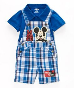 Love this Blue & White Plaid Mickey Tee & Overalls - Infant on #zulily! #zulilyfinds