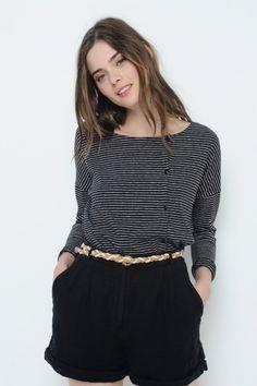 Long Sleeved T-Shirt Rosali Black/Ecru