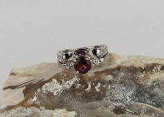 Sterling Silver Engagement - Anniversary - Wedding - Bridal Set with 7mm Red Garnet Gemstone and CZ Accents on Etsy, $189.95