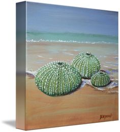 """""""Sea Urchins"""" by Yvonne Ayoub, London, England/Skiathos, Greece // Original painting in acrylics on canvas size 20 x 20 cm, of sea urchins at the shoreline // Imagekind.com -- Buy stunning fine art prints, framed prints and canvas prints directly from independent working artists and photographers."""
