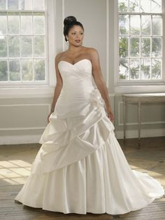 Stunning Satin face Taffeta sweetheart A-Line wedding dress with dropped ruched skirt detailing ML3096