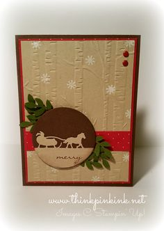 Sleigh Ride edgelits, Winter, Christmas, stampin up Create Christmas Cards, Stamped Christmas Cards, Xmas Cards, Christmas Greetings, Holiday Cards, Christmas Stencils, Woodland Christmas, Winter Christmas, Horse Cards
