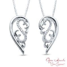 Open Hearts by Jane Seymour™ 0.10 CT. T.W. Diamond Scroll Pendant in Sterling Silver  - Peoples Jewellers