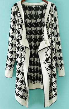 White Long Sleeve Houndstooth Knit Cardigan pictures