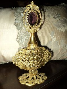 Antique 19th C Gilt Ormolu Perfume Bottle French OOAK Filigree Amethyst Cabachon Vanity Glass