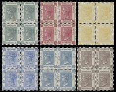 Hong Kong 1900 Queen Victoria issue to set in blocks of 4 (Yang… King Edward Vii, Queen Victoria, Hong Kong, Stamps, Royalty, British, Seals, Reign, Postage Stamps