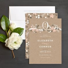 Floral Ribbon Save The Date Cards by Jennifer Wick   Elli
