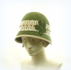 Green Cloche Hat for Women  1920s Fashion Hat  by TheMillineryShop, $255.00