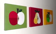 Apple and Pear Canvases -- another idea: put burlap on the canvas, then paint the fruit
