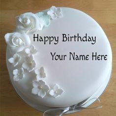 Write Your Name On White Roses Birthday Cake For Lover
