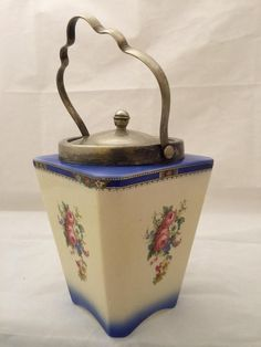 Vintage Deco Style L & Sons Ltd Biscuit Jar Floral Lancaster Hanley England #LSonLtdLancaster