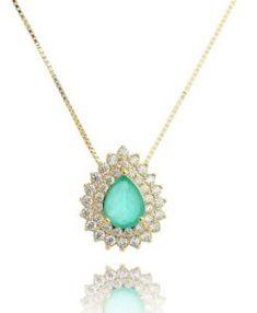 colar da moda de gota turmalina folheado a ouro com zirconias cristais semi joias modernas