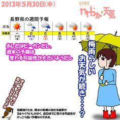 きょう(30日)の天気、午前中は降っても小雨ですが、午後はやや雨脚が強まる可能性も。しかし回復は早く、夕方以降は雲が取れてきそう。日中の気温は、諏訪市ではきのうより4度ほど高い20度前後で推移する予想。