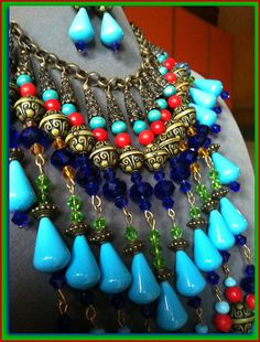 Blue Crystal Statement Necklace, Royal Blue Crystal Necklace, Turquoise Drop Chandelier Necklace, Boho Statement Bib, Handmade in Italy