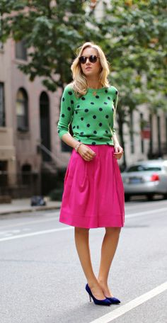 The Classy Cubicle: Spot On. The fashion blog for professional women who need office style inspiration and work wear ideas for the corporate world and beyond. {j. crew, calvin klein, karen walker, super duper, full midi skirt, chain link bracelet, cuff, polka dots, kelly green, navy, magenta pink, suede}