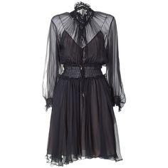 Chloe' Ruffle-Trimmed Smocked Silk Dress (2 516 AUD) ❤ liked on Polyvore featuring dresses, blu, ruffle sleeve dress, frilly dresses, silk dress, smock dress and dark blue dress