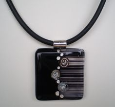 fused glass pendant with copper wire