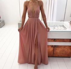 Sexy Slit Prom Dress,Spaghetti Straps Backless Summer Chiffon Prom Dress by DestinyDress, $137.39 USD