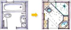 Badplanung kleines Bad unter 4m² - Badraumwunder Wiesbaden Bathroom Design Small, Bathroom Layout, Bath Design, Mini Bad, Compact House, Small Space Solutions, Tiny Spaces, Sweet Home, House Plans