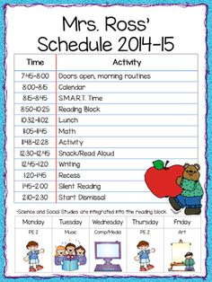 College Class Schedule Template Printable Fresh Class Schedule Freebie Teacher by the Beach Back To School Night, 1st Day Of School, Beginning Of The School Year, First Grade Classroom, Kindergarten Classroom, School Classroom, Classroom Ideas, Kindergarten Newsletter, Future Classroom