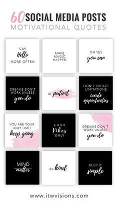 60 Social Media Quotes & Posts - Entrepreneur Motivation Quote Bundle Social media quote and post pack.These inspirational and motivational quotes are great for success with social media engagement.