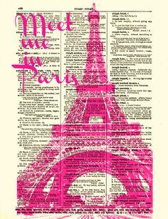 Eiffel Tower Dictionary Art Print