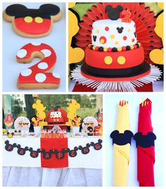 Mickey Mouse birthday party via Kara's Party Ideas Mickey Mouse Theme Party, Mickey Mouse Clubhouse Birthday Party, Mickey Mouse 1st Birthday, Boy Birthday Parties, 2nd Birthday, Birthday Ideas, Mickey Mouse Clasico, Festa Party, Mousse