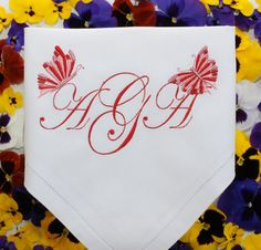 Monogrammed personalized table napkins. Butterflies embroidered serviette.