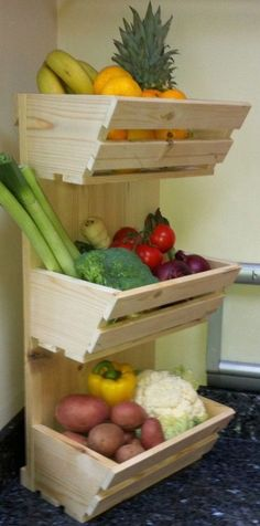 Fruit and vegetable storage ideas is part of Kitchen Organization Vegetables - 16 Fruit and vegetable storage ideas To storage fruit and vegetable you can use drawers, fabric bags, woven baskets mounted in a wooden frame or traditional wooden baskets