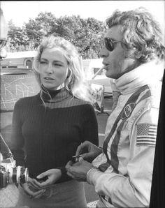 "Elga Andersen and Steve McQueen on set for ""Le Mans"" Steve Mcqueen Wife, Steve Mcqueen Cars, Actor Steve Mcqueen, Steve Mcqueen Style, Jackie Stewart, Steeve Mac Queen, Gary Clark, La Mans, American Legend"