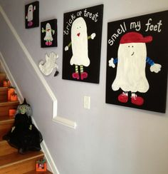 Paint family ghost canvases for Halloween that you can use year after year with @Alissa Evans Evans Huybers Crafts