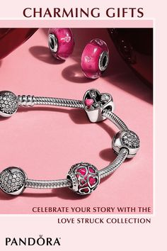Looking for a personalized gift this Valentine's Day? Choose from hundreds of sterling silver and 14k gold PANDORA charms to create a bracelet that celebrates your unique story. The Love Struck Jewelry Collection was made especially for Valentine's Day, with an assortment of heart-shaped and brilliant pink charms that will show your endless love.