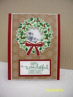 Wondrous Wreath Shaker Card by D. Daisy - Cards and Paper Crafts at Splitcoaststampers