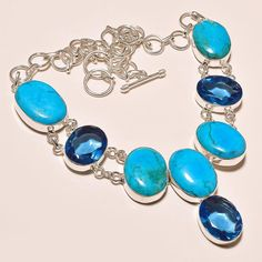 """70 gms SLEEPING BEAUTY TURQUOISE WITH LONDON BLUE TOPAZ .925 SILVER NECKLACE 18"""" #Handmade #Pendant"""