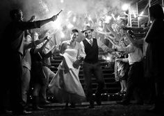 Adam and Tricia - wedding sparkler shot picture departing bride and groom line of black and white night classy decor decorations photo photographer sarah fry studio philadelphia country outside farmhouse barn big day perfect