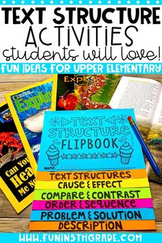 Text structure can be a challenge for students. Use these engaging ideas to help make the topic stick with your students. Ideas for whole group, small group, centers, and more! via @funin5thgrade