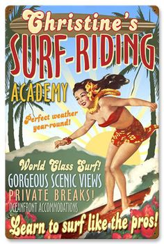 Surf Academy 16 x 24 Custom Personalized Vintage Metal Sign | Man Cave Kingdom