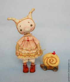Купить Улитка - желтый, улитка, ракушка, девочка-улитка, текстильная кукла, девочка, малышка