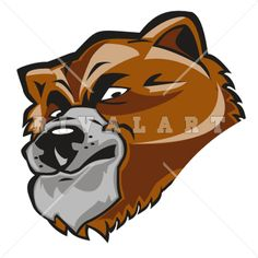 Mascot Clipart Image of Bear Head Graphic Color