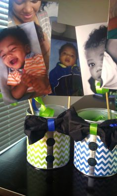 Out of The Blue: Little Man Mustache Birthday Bash : Little Man Centerpieces