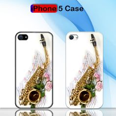 Saxophone and Rose Note Music Custom iPhone 5 Case Cover