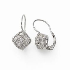 Square Filigree Earring With Diamond Accent 14k White Gold Vintage Style Earrings