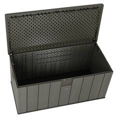 Lifetime Rough Cut 150 Gallon Deck Box High-density Polyethylene Lockable Lid with Spring Hinge Patio Storage, Storage Boxes, Outdoor Storage, Patio Bench, Space Available, Deck Box, Argos, Rough Cut