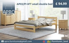 Pinewood Bed Frame Small Double Unvarnished Bedroom Teens Children for sale online Mattress Manufacturers, Pine Furniture, Wood Beds, Good Sleep, Double Beds, Teen Bedroom, Guest Room, Betta, Toddler Bed