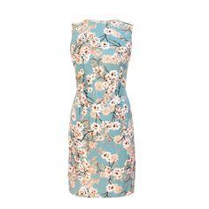 crepe baby blue dress /  cherry blossom print dress by trendyfriendly on Etsy