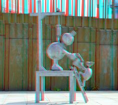 https://flic.kr/p/yah7cA | Tom Otterness Scheveningen 3D | anaglyph stereo red/cyan Fairy-tales by the Sea.  Sprookjesbeelden aan Zee | Fairytale sculptures by the sea