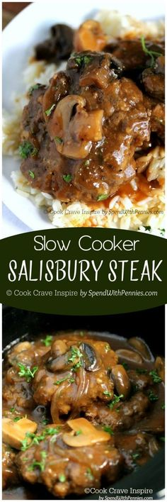 Slow Cooker Salisbury Steak! Perfectly tender beef patties simmered in the crock pot in a rich brown gravy! This is a family favorite!